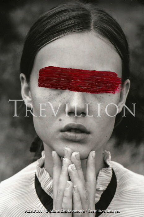 Alina Zhidovinova Young Woman With Red Paint Across Eyes Women