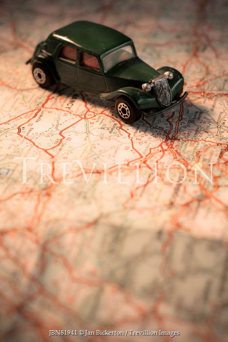 Jan Bickerton Toy car on map of France Miscellaneous Objects