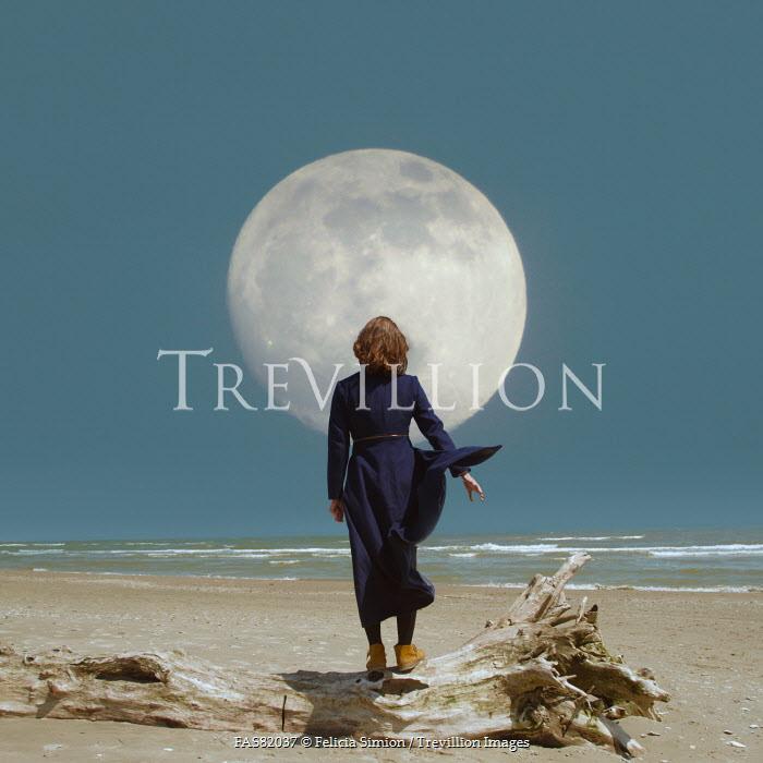 Felicia Simion BRUNETTE WOMAN ON BEACH BELOW FULL MOON Women