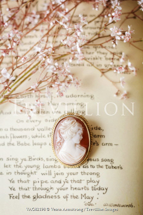 Vesna Armstrong CAMEO BROOCH BESIDE POETRY AND FLOWERS Miscellaneous Objects