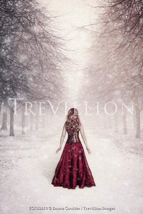 Emma Goulder WOMAN IN RED IN SNOWY AVENUE Women