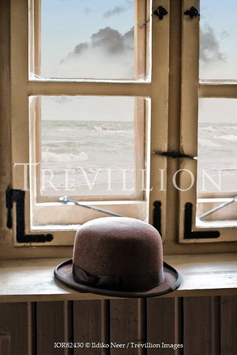 Ildiko Neer BOWLER HAT ON WINDOW SILL BY SEA Miscellaneous Objects