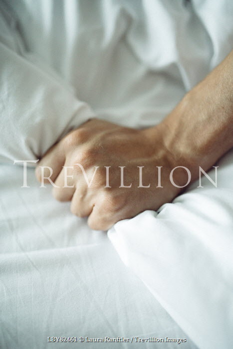Laura Ranftler HAND CLENCHING WHITE SHEET Men