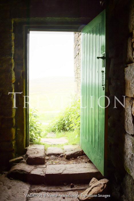 Vesna Armstrong RUSTIC GREEN DOOR LEADING TO GARDEN Building Detail