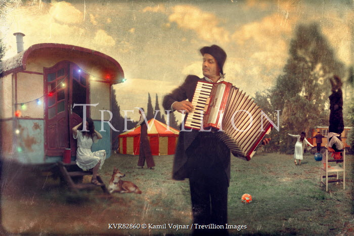 Kamil Vojnar MAN WITH ACCORDIAN AND CIRCUS PERFORMERS Groups/Crowds
