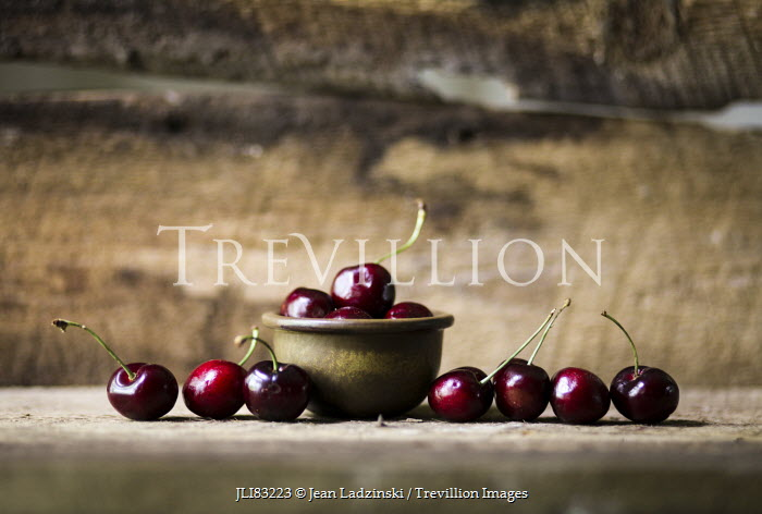 Jean Ladzinski BOWL OF CHERRIES ON TABLE Miscellaneous Objects