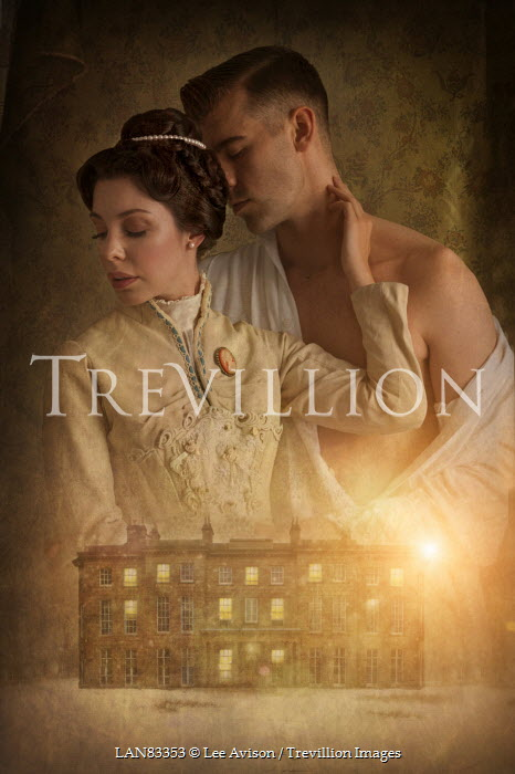 Lee Avison victorian lovers and mansion at night Couples