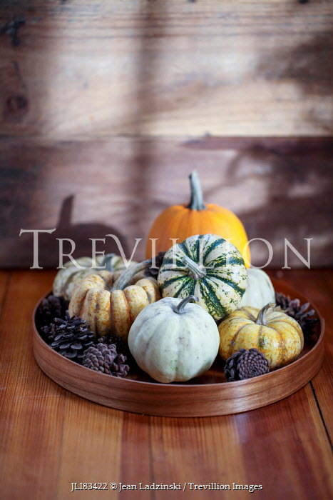 Jean Ladzinski PUMPKINS AND PINECONES ON WOODEN TABLE Miscellaneous Objects