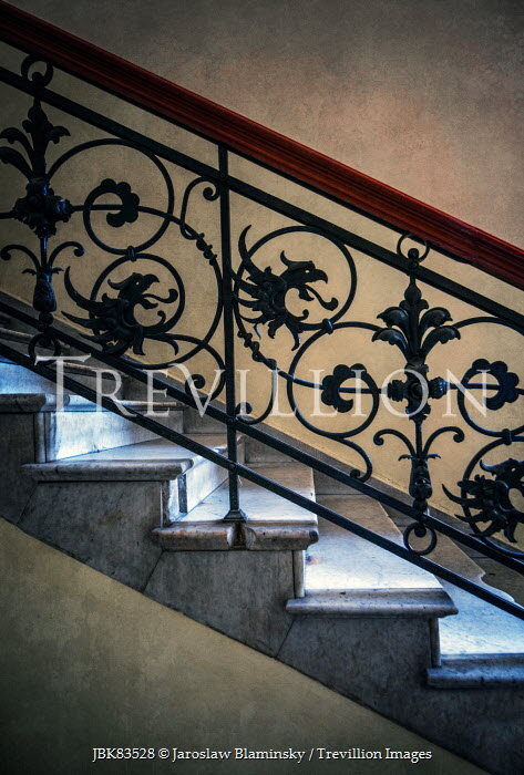 Jaroslaw Blaminsky STAIRCASE WITH ORNATE WROUGHT IRON Stairs/Steps