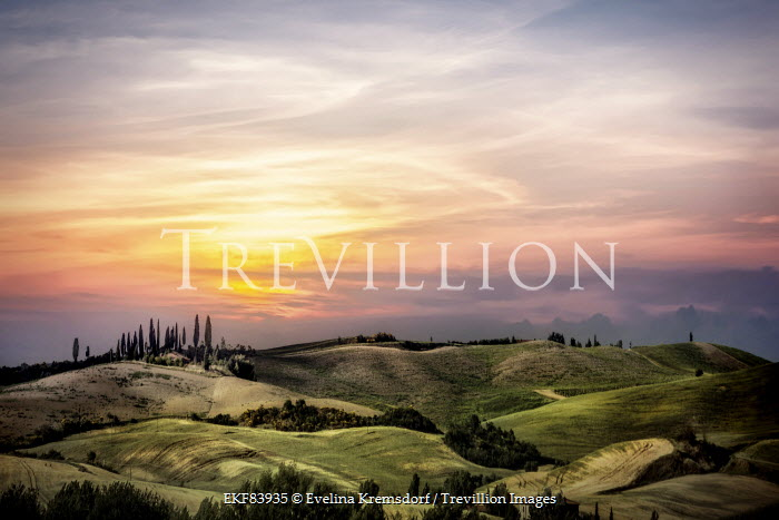 Evelina Kremsdorf sunset over fields of Tuscany, Italy Fields