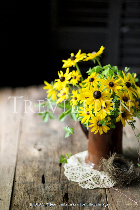 Jean Ladzinski VASE OF FLOWERS AND BIRDS NEST ON TABLE Flowers