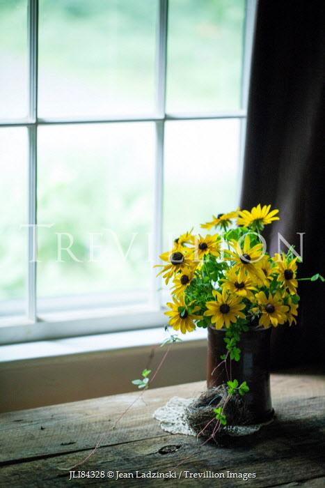 Jean Ladzinski VASE OF FLOWERS AND BIRDS NEST BY WINDOW Flowers