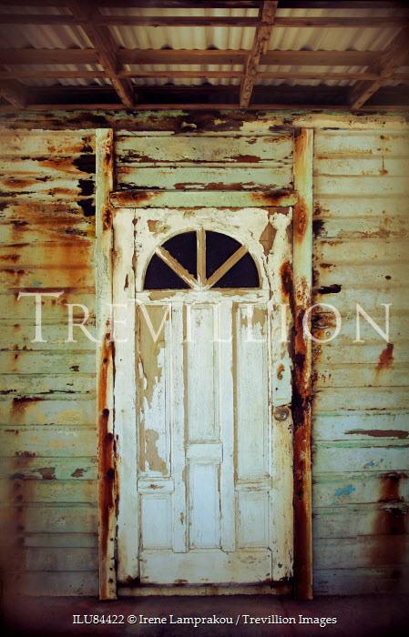 Irene Lamprakou WHITE DOOR IN DERELICT WEATHERBOARD HOUSE Building Detail