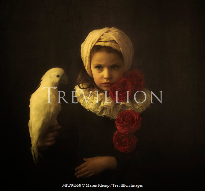 Maren Klemp GIRL WITH ROSES AND WHITE PARROT Children