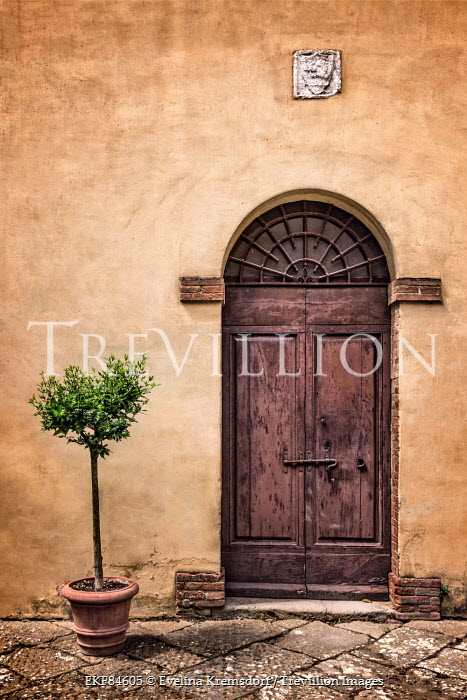 Evelina Kremsdorf house with rustic door in Tuscany, Italy Building Detail