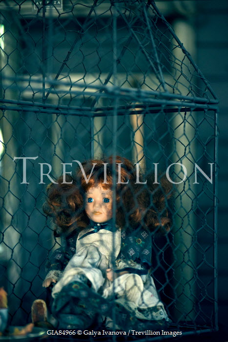 Galya Ivanova DOLL WITH RED HAIR IN CAGE Miscellaneous Objects