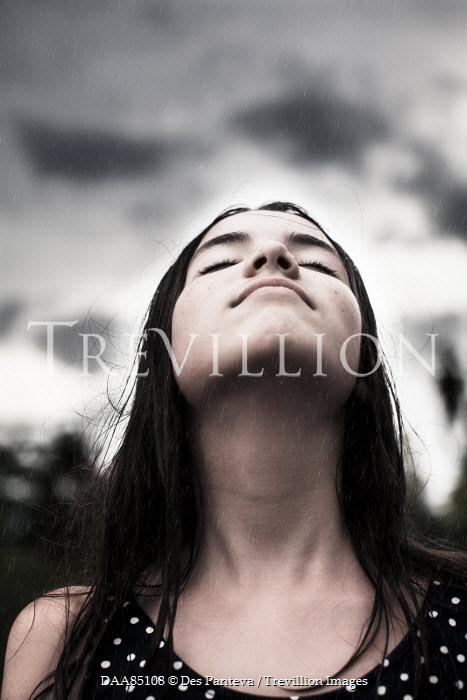 Des Panteva YOUNG BRUNETTE WOMAN IN THE RAIN Women