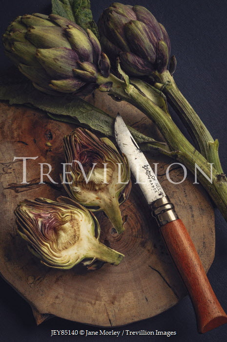 Jane Morley ARTICHOKE VEGETABLES AND KNIFE ON WOOD Miscellaneous Objects