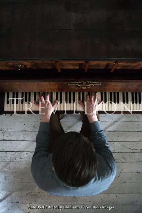 Holly Leedham VINTAGE MAN PLAYING WOODEN PIANO Men