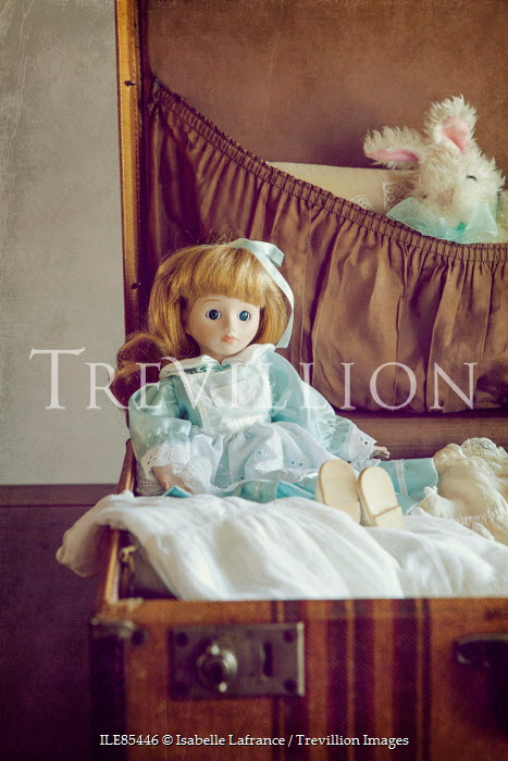Isabelle Lafrance VINTAGE DOLL AND SOFT TOY IN SUITCASE Miscellaneous Objects