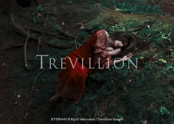Kirill Sakryukin WOMAN LYING ON MOSS IN FOREST Women