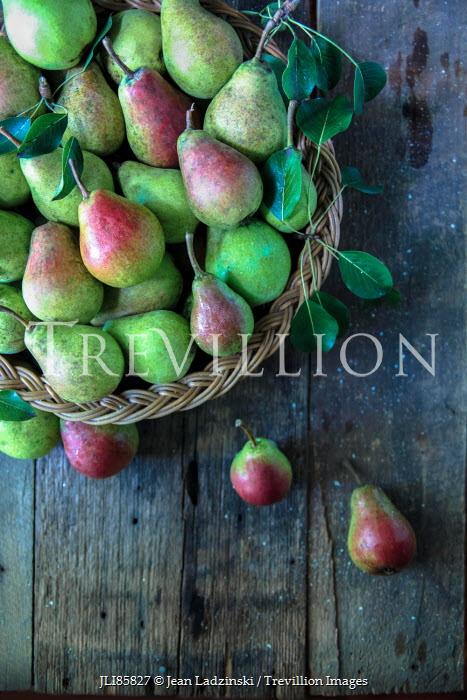 Jean Ladzinski GREEN PEAR FRUITS IN RUSTIC BASKET Miscellaneous Objects