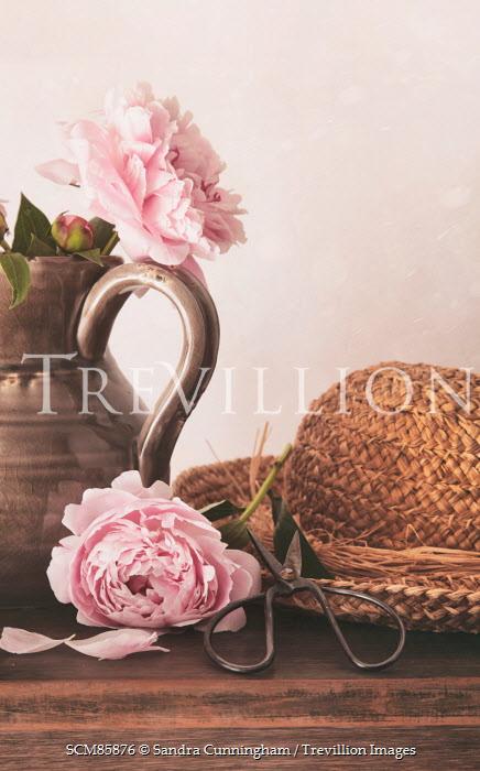 Sandra Cunningham HAT, SCISSORS, FLOWERS, AND JUG ON TABLE Flowers