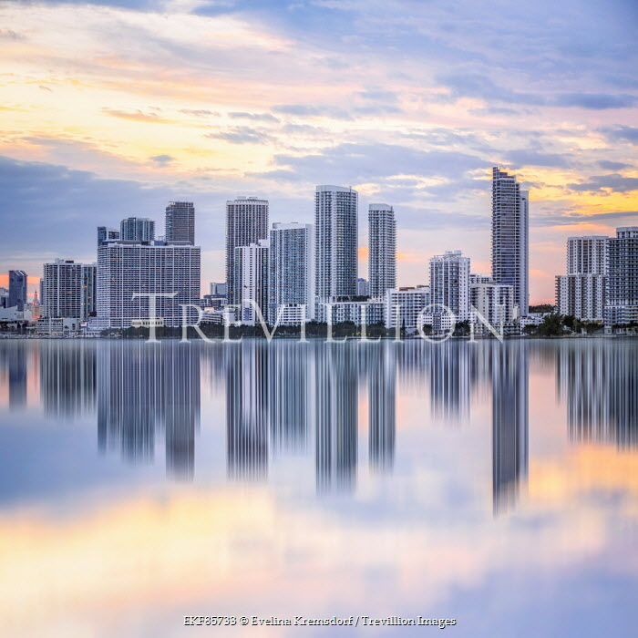 Evelina Kremsdorf Miami skyscrapers reflected in lake Specific Cities/Towns