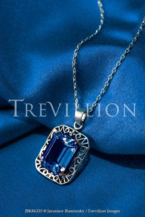 Jaroslaw Blaminsky SAPPHIRE NECKLACE ON BLUE FABRIC Miscellaneous Objects