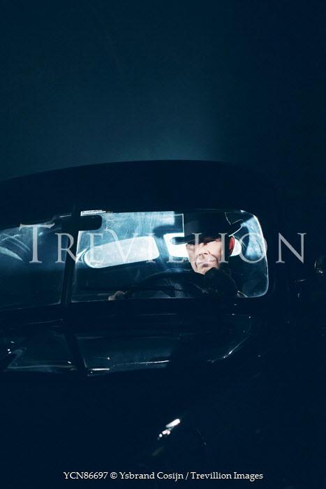 Ysbrand Cosijn RETRO MAN DRIVING CAR AT NIGHT Men