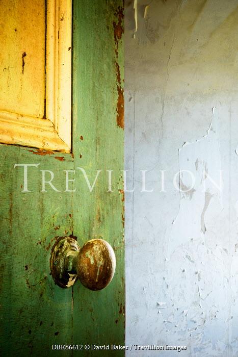 David Baker SHABBY WOODEN DOOR WITH PEELING PAINT Building Detail
