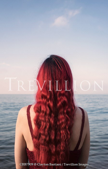 Clayton Bastiani WOMAN WITH WAVY RED HAIR WATCHING THE SEA Women