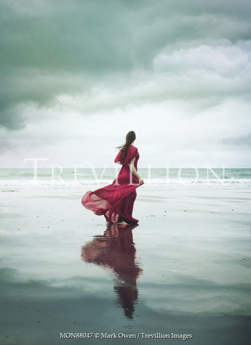 Mark Owen WOMAN IN RED DRESS BY STORMY SEA Women