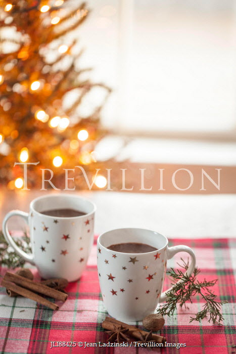Jean Ladzinski DRINKS WITH CINNAMON STICKS AND CHRISTMAS TREE Miscellaneous Objects