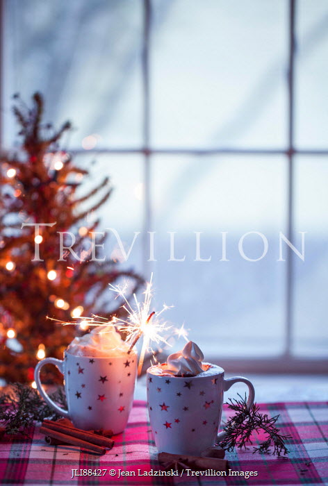 Jean Ladzinski HOT CHOCOLATE WITH SPARKLER AND CHRISTMAS TREE Miscellaneous Objects