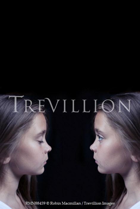 Robin Macmillan SERIOUS TWIN GIRLS IN PROFILE Children