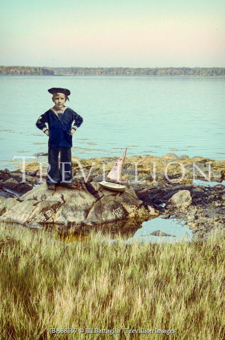 Jill Battaglia vintage Boy wearing sailor suit by the sea. Children