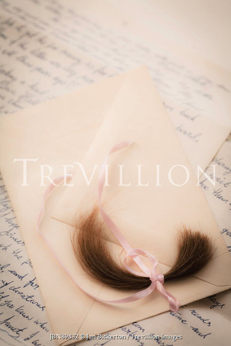 Jan Bickerton LOCK OF HAIR WITH RIBBON ON LETTER Miscellaneous Objects