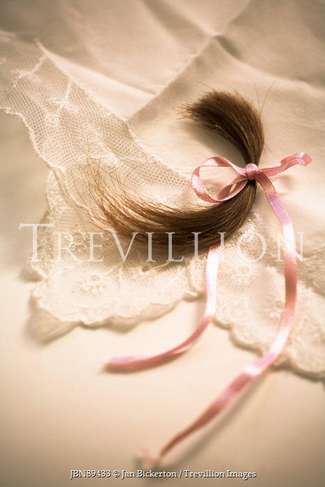 Jan Bickerton LOCK OF HAIR WITH RIBBON ON LACE Miscellaneous Objects