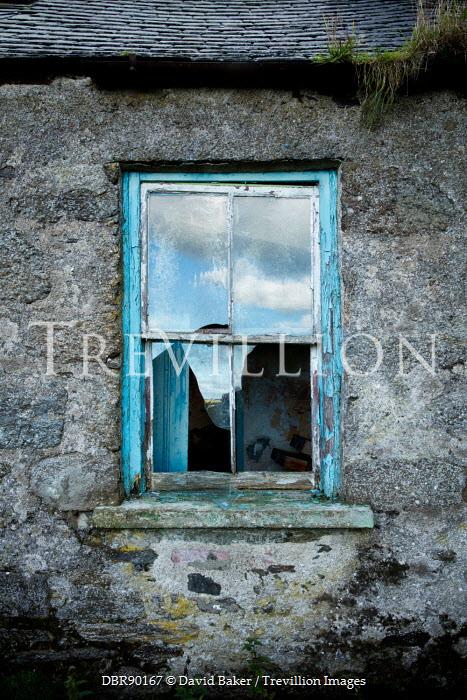 David Baker BROKEN WINDOW IN DERELICT HOUSE Building Detail