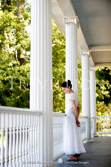 Joshua Sheldon WOMAN IN WHITE ON BALCONY OF GRAND HOUSE Women