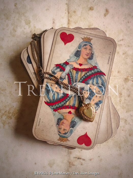 Jane Morley GOLD LOCKET ON OLD PLAYING CARDS Miscellaneous Objects