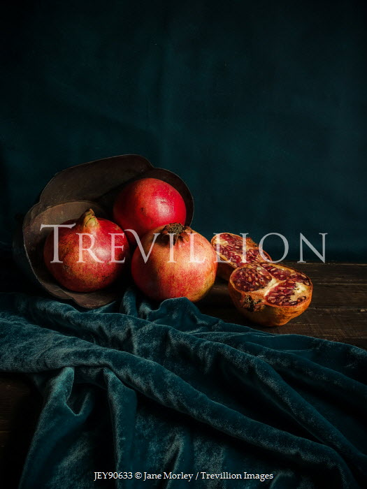 Jane Morley POMEGRANATES ON TABLE WITH BLUE VELVET Miscellaneous Objects