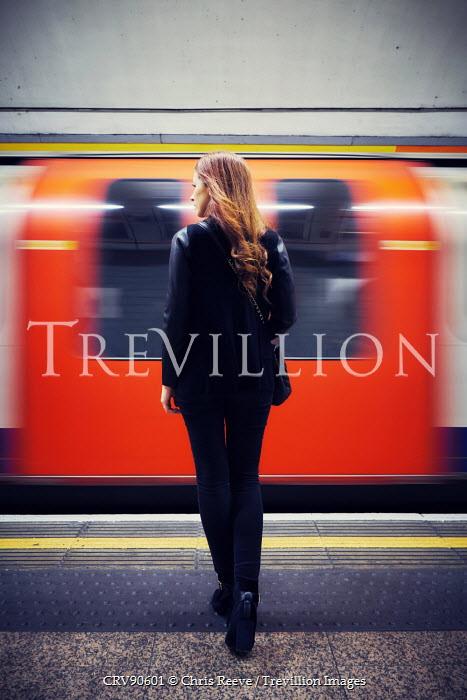 Chris Reeve WOMAN ON PLATFORM WATCHING TUBE TRAIN Women