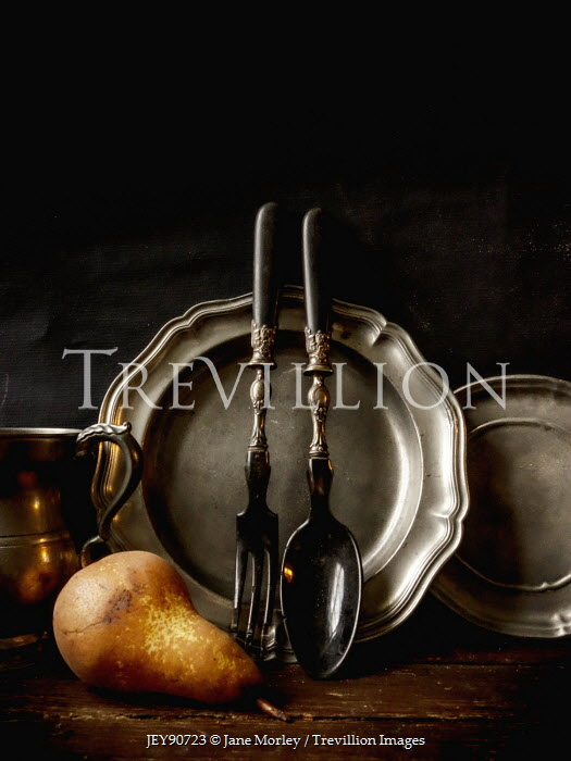 Jane Morley PEWTER CROCKERY WITH CUTLERY AND PEAR Miscellaneous Objects