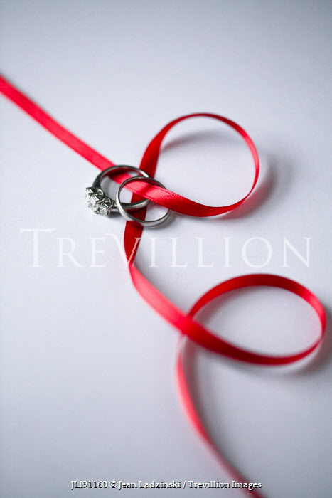 Jean Ladzinski WEDDING RINGS AND RED RIBBON Miscellaneous Objects