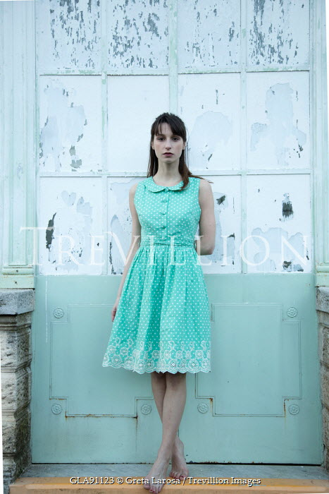 Greta Larosa YOUNG WOMAN WEARING POLKA DOT DRESS Women
