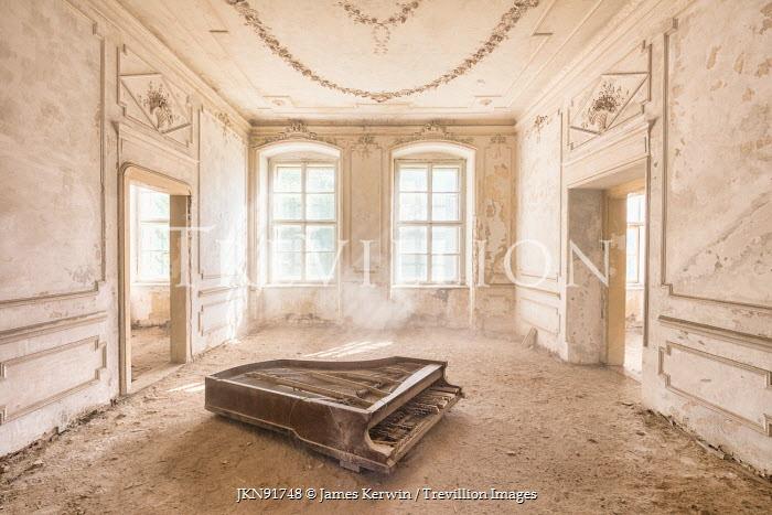 James Kerwin ABANDONED GRAND PIANO IN DERELICT BUILDING Interiors/Rooms
