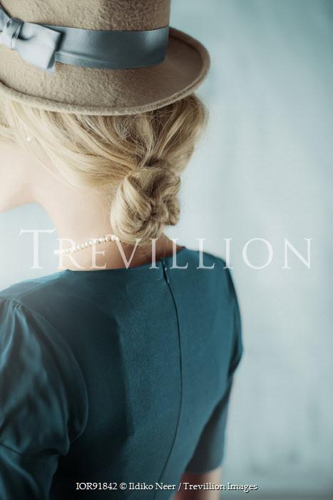 Ildiko Neer Blonde retro woman in hat Women