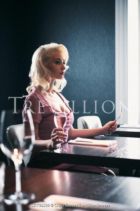 Chris Reeve BEAUTIFUL WOMAN SITTING AT RESTAURANT TABLE Women